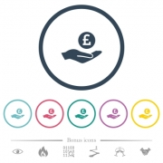 Pound earnings flat color icons in round outlines. 6 bonus icons included. - Pound earnings flat color icons in round outlines