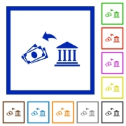 Cash withdrawal from bank flat color icons in square frames on white background - Cash withdrawal from bank flat framed icons