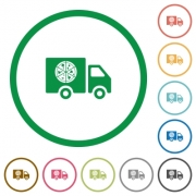 Pizza delivery truck flat color icons in round outlines on white background - Pizza delivery truck flat icons with outlines
