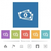 More banknotes with portrait flat white icons in square backgrounds. 6 bonus icons included.