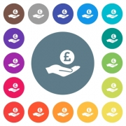 Pound earnings flat white icons on round color backgrounds. 17 background color variations are included. - Pound earnings flat white icons on round color backgrounds