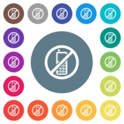 Cellphone not allowed flat white icons on round color backgrounds. 17 background color variations are included. - Cellphone not allowed flat white icons on round color backgrounds