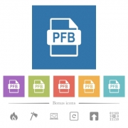 PFB file format flat white icons in square backgrounds. 6 bonus icons included. - PFB file format flat white icons in square backgrounds