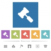 Judge hammer flat white icons in square backgrounds. 6 bonus icons included. - Judge hammer flat white icons in square backgrounds