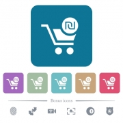 Checkout with new Shekel cart white flat icons on color rounded square backgrounds. 6 bonus icons included - Checkout with new Shekel cart flat icons on color rounded square backgrounds