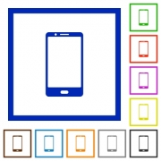 Modern mobile phone with one button flat color icons in square frames on white background - Modern mobile phone with one button flat framed icons