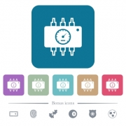Hardware diagnostics white flat icons on color rounded square backgrounds. 6 bonus icons included - Hardware diagnostics flat icons on color rounded square backgrounds