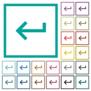 Keyboard return flat color icons with quadrant frames on white background - Keyboard return flat color icons with quadrant frames
