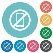 Smartphone not allowed flat white icons on round color backgrounds - Smartphone not allowed flat round icons
