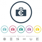 Euro bag flat color icons in round outlines. 6 bonus icons included. - Euro bag flat color icons in round outlines