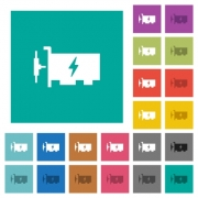 Fast ethernet network controller multi colored flat icons on plain square backgrounds. Included white and darker icon variations for hover or active effects. - Fast ethernet network controller square flat multi colored icons