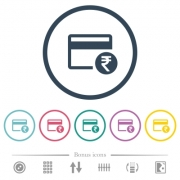 Rupee credit card flat color icons in round outlines. 6 bonus icons included. - Rupee credit card flat color icons in round outlines
