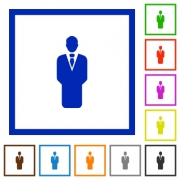 Businessman silhouette flat color icons in square frames on white background - Businessman silhouette flat framed icons