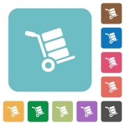Hand truck with boxes white flat icons on color rounded square backgrounds - Hand truck with boxes rounded square flat icons