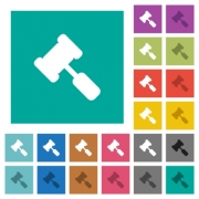 Judge hammer multi colored flat icons on plain square backgrounds. Included white and darker icon variations for hover or active effects. - Judge hammer square flat multi colored icons