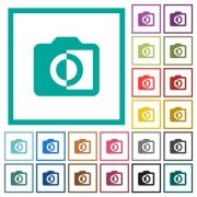 Monochrome photos flat color icons with quadrant frames on white background - Monochrome photos flat color icons with quadrant frames