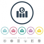 Turkish Lira financial graph flat color icons in round outlines. 6 bonus icons included.