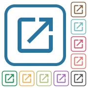 Launch application simple icons in color rounded square frames on white background