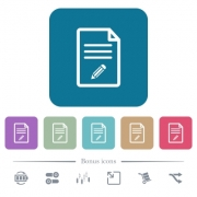 Edit document white flat icons on color rounded square backgrounds. 6 bonus icons included - Edit document flat icons on color rounded square backgrounds