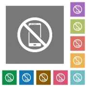 No smartphone flat icons on simple color square backgrounds - No smartphone square flat icons