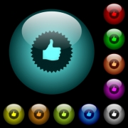 Thumbs up sticker icons in color illuminated spherical glass buttons on black background. Can be used to black or dark templates - Thumbs up sticker icons in color illuminated glass buttons