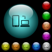 Syncronize mobile with computer icons in color illuminated spherical glass buttons on black background. Can be used to black or dark templates - Syncronize mobile with computer icons in color illuminated glass buttons