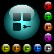Secure component icons in color illuminated spherical glass buttons on black background. Can be used to black or dark templates - Secure component icons in color illuminated glass buttons