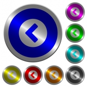 Chevron left icons on round luminous coin-like color steel buttons - Chevron left luminous coin-like round color buttons