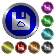 Cloud file icons on round luminous coin-like color steel buttons - Cloud file luminous coin-like round color buttons