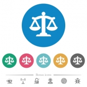 Scale of law flat white icons on round color backgrounds. 6 bonus icons included. - Scale of law flat round icons