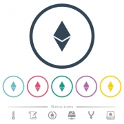 Ethereum digital cryptocurrency flat color icons in round outlines. 6 bonus icons included. - Ethereum digital cryptocurrency flat color icons in round outlines
