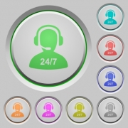24 hours operator service color icons on sunk push buttons - 24 hours operator service push buttons - Large thumbnail