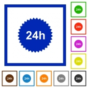 24h sticker flat color icons in square frames on white background - 24h sticker flat framed icons