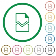 Broken page flat color icons in round outlines on white background - Broken page flat icons with outlines