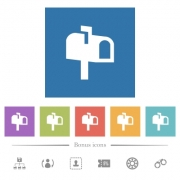 Mailbox flat white icons in square backgrounds. 6 bonus icons included. - Mailbox flat white icons in square backgrounds