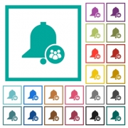 Team reminder flat color icons with quadrant frames on white background - Team reminder flat color icons with quadrant frames