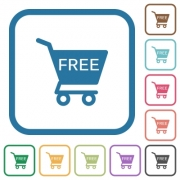 Free shopping cart simple icons in color rounded square frames on white background - Free shopping cart simple icons