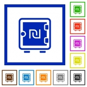 New Shekel strong box flat color icons in square frames on white background - New Shekel strong box flat framed icons