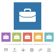 Satchel flat white icons in square backgrounds. 6 bonus icons included. - Satchel flat white icons in square backgrounds