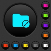 Uncompress directory dark push buttons with vivid color icons on dark grey background - Uncompress directory dark push buttons with color icons