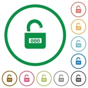Unlocked combination lock with center numbers flat color icons in round outlines on white background - Unlocked combination lock with center numbers flat icons with outlines