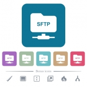 FTP over SSH white flat icons on color rounded square backgrounds. 6 bonus icons included - FTP over SSH flat icons on color rounded square backgrounds