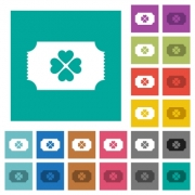 Lottery ticket multi colored flat icons on plain square backgrounds. Included white and darker icon variations for hover or active effects. - Lottery ticket square flat multi colored icons