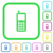 Retro mobile phone vivid colored flat icons in curved borders on white background - Retro mobile phone vivid colored flat icons