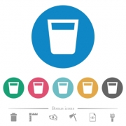Drink flat white icons on round color backgrounds. 6 bonus icons included. - Drink flat round icons