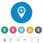 Stadium GPS map location flat white icons on round color backgrounds. 6 bonus icons included. - Stadium GPS map location flat round icons