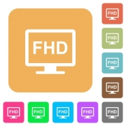 Full HD display flat icons on rounded square vivid color backgrounds. - Full HD display rounded square flat icons