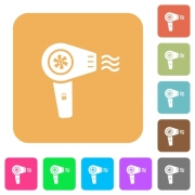 Hairdryer with propeller flat icons on rounded square vivid color backgrounds. - Hairdryer with propeller rounded square flat icons