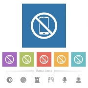 No smartphone flat white icons in square backgrounds. 6 bonus icons included. - No smartphone flat white icons in square backgrounds