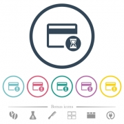 Credit card operation in progress flat color icons in round outlines. 6 bonus icons included. - Credit card operation in progress flat color icons in round outlines